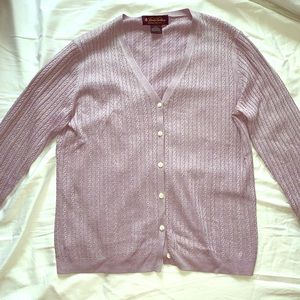 Brooks Brothers lavender silk-cashmere cardigan S